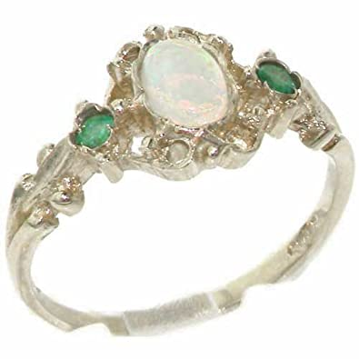 LetsBuyGold 10k White Gold Real Genuine Opal and Emerald Womens Band Ring