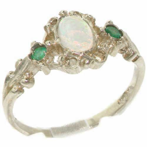 LetsBuyGold 10k White Gold Real Genuine Opal and Emerald Womens Promise Ring - Size 9
