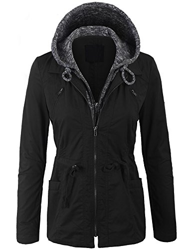 KOGMO Womens Military Anorak Jacket with Knit Hood and Pockets-S-Black