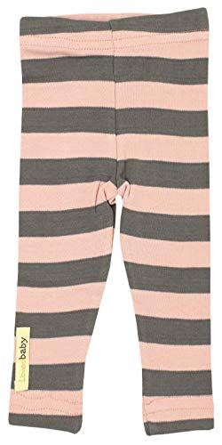 Short Fine Stripe (L'ovedbaby Unisex-Baby Organic Cotton Leggings (3-6 Months, Mauve/Gray Stripe))
