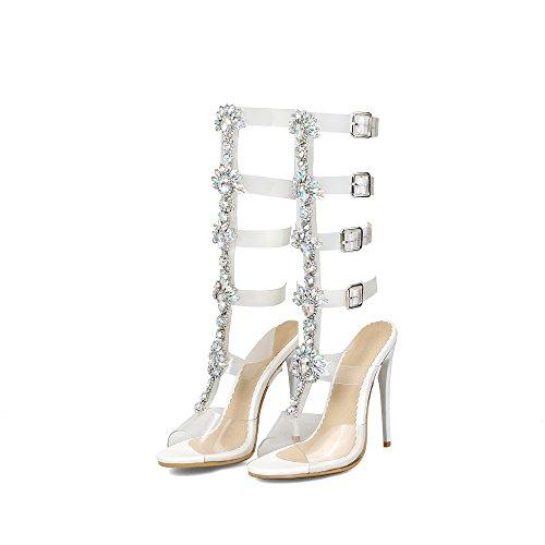 Carolbar Femmes Strass Transparents Stilettos Mi-mollet Été Bottes Sandales Blanc