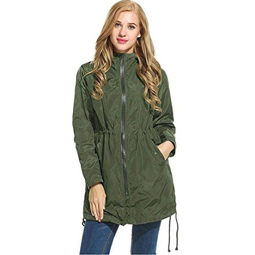 Wintialy Womens Lightweight Waterproof Raincoat Hoodie Windproof Hiking Coat Packable Rain Jacket (Green, S)