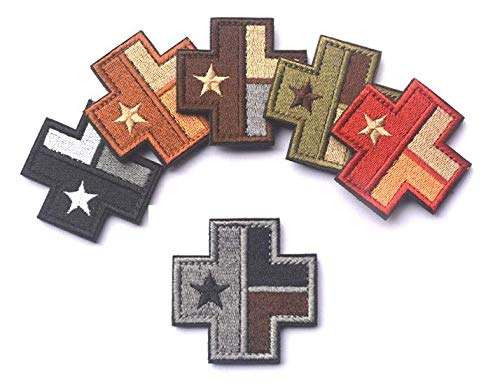 6pcs Texas Flag Medical Cross Military Patch Fabric Embroidered Badges Patch Tactical Stickers for Clothes with Hook & Loop (6pcs)