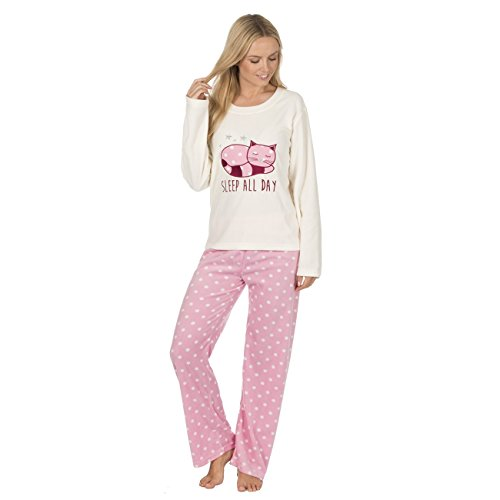 Dreaming Snuggle Twosie Cat Soft Sempre Per Set Fleece Pajama Cream 6OxqR5wC