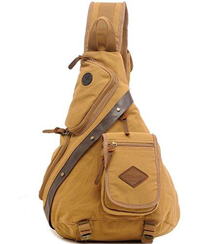Leather Single Strap - Zerlar Men's Chest Pack Crossbody Bag Vintage Canvas Shoulder Sling Bag Rucksack