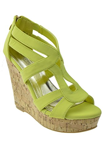 Paola-1 Strappy Open Toe Cork Platform Wedge Lemon 7