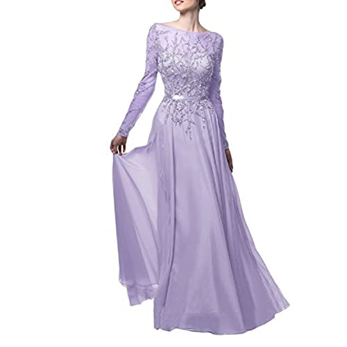 OYISHA Womens Long Prom Dress Beaded Long Sleeve Evening Dresses Boat Neck EV38 Lilac 2