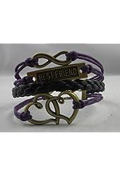 Leegoal Vintage Bronze Infinity 8 Best Friend Heart Purple Rope Leather Bracelet Karma