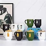 Matte Black Corgi Mug with Original Bamboo