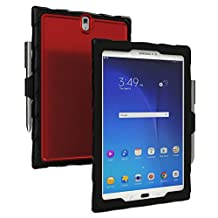Gumdrop Cases Droptech Clear for Samsung Galaxy Tab S3 Rugged Tablet Case Shock Absorbing Cover, Black / Red
