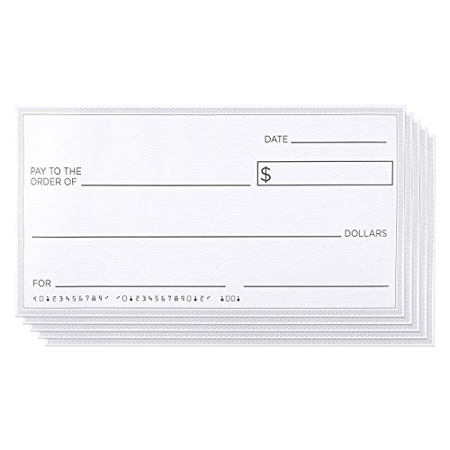 5 Pack Giant Oversized Fake Paper Checks for Endowment Award - Large Novelty Cheque for Rewards, Donations, Gag Gifts, Raffle Winners and Fundraisers - Each Big Check Measures 30 x 16 Inches