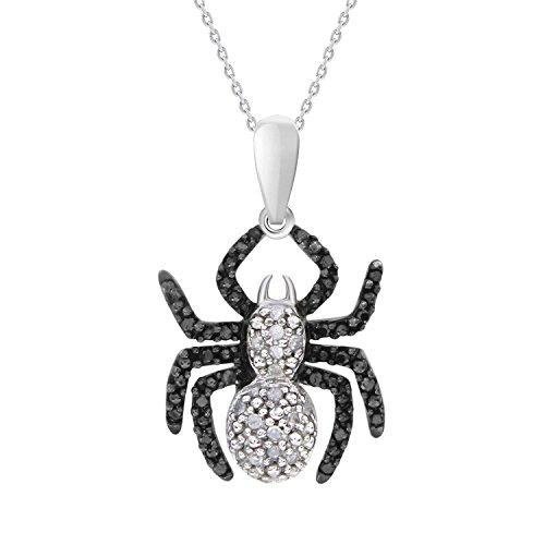 Round Black & White Diamond Spider Pendant with 18