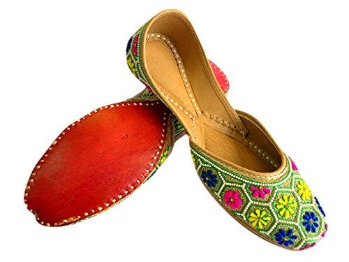 Chaussures laine Étape jutti Mocassins de bois en Mesdames Multi de N Khussa santal Plat Jaipuri Style filetage panjabi pqqfw46g