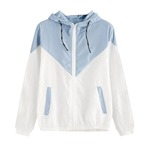 Kimloog Sports Jackets for Women Long Sleeve Zipper Up Hooded Patchwork Thin Skinsuits Pockets Activewear (S, Sky ()