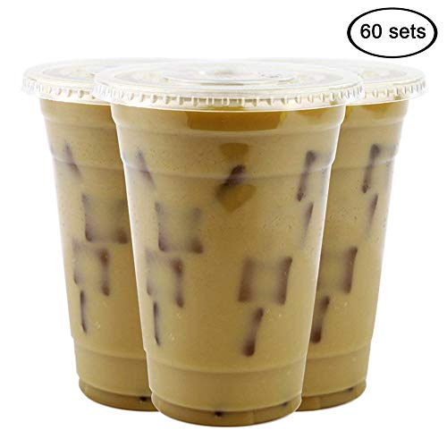 Tomnk 60 Sets 16 oz plastic cups with Lids for Iced Coffee, Bubble Boba, Tea, Smoothie, Cold Drinks