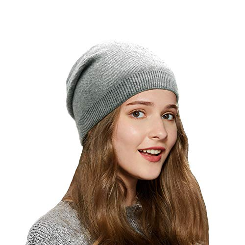 Wheebo Beanie Hat Cashmere Stretch Skull Ski Cap for Women Men -Winter Knit Hat Solid Color Unisex Style Gray