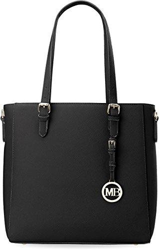 Damentasche steife Ausführung Shopper verziert mit Anhänger schwarz
