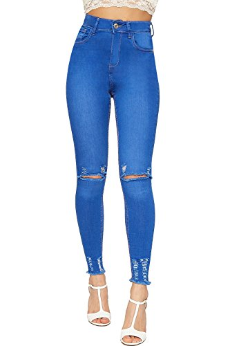 Pantalon Jean Femmes Toile Bleu Pantalon Jeans tendue De Jambe 34 Maigre Ripped Afflig WEARALL 42 Dames pRw4qnP4Y