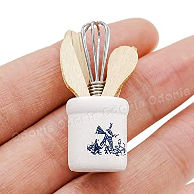 Odoria 1:12 Miniature Egg Beater and Utensils with Pottery Holder Dollhouse Kitchen Accessories: Toys & Games