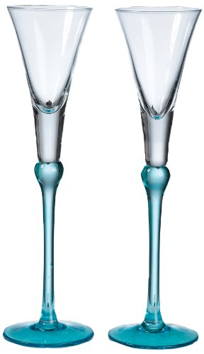 Lillian Rose Toasting Glasses (Lillian Rose Aqua Blue Wedding Toasting Flutes Table Decor)