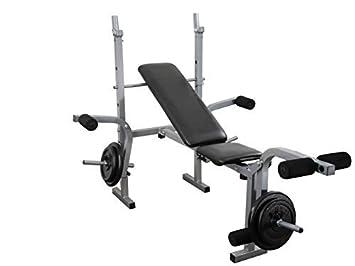 Entrenamiento con pesas Multi Gym Fitness banco plegable con pecho y pierna ejercicio + 30 kg peso placas: Amazon.es: Deportes y aire libre
