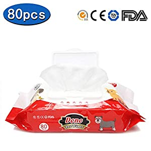 Deodorizing All Natural Pet Wipes -Dono DNW001 Super Soft Antibacterial 80 Wipes for Dogs & Cats?Alcohol Free?Lemon Fragrance