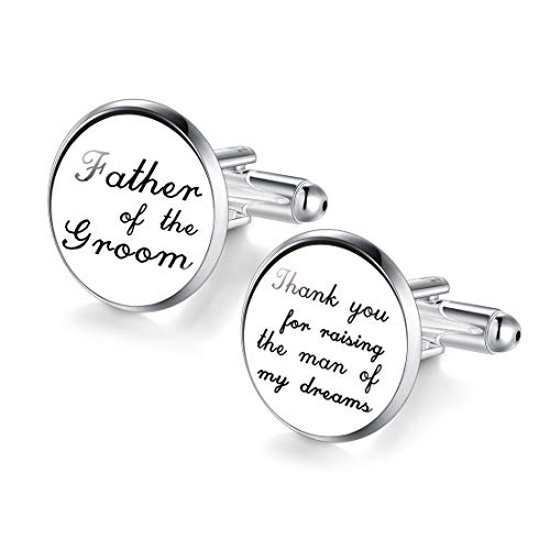 JIAYIQI Custom Cufflinks Father of The Groom Thank You for Raising The Man of My Dreams (Best Gift For My Father In Law)