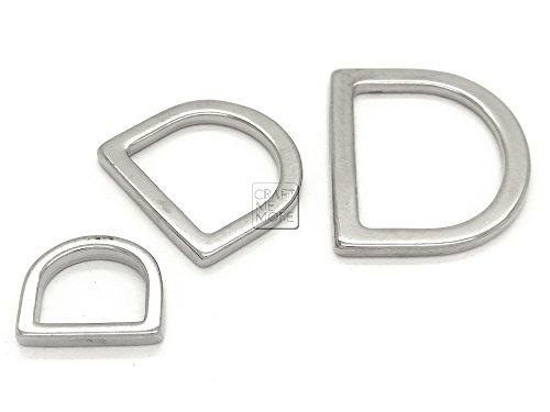 CRAFTMEmore Silver D Rings Purse Loop Flat Metal D-ring Findings for Bag Belt Strap Webbing 25 pcs (1/2 Inch) (Wrangler Concho Belt)