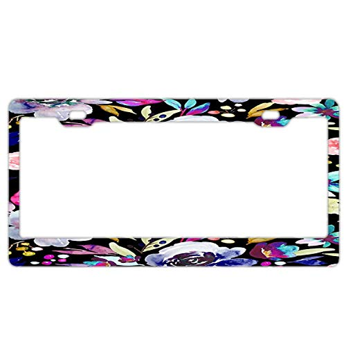 Custom Auto Frames Hand Painted Flowers License Plate Frame Aluminum Metal, Floral Car Tag Holder for Women/Girls, License Plate Cover for US Vehicles ()