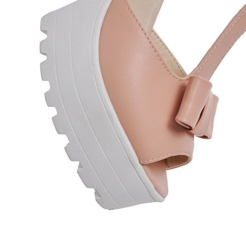 AmoonyFashion Womens Pu Solid Buckle Peep Toe High Heels Sandals Pink vGbeX3vz