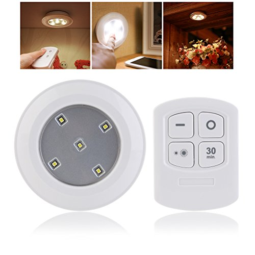 LEDMOMO Wireless Puck Light with Remote Control LED Battery Powered Touch Light Stick Anywhere for Hallway Staircase Closet Bathroom Bedroom (Warm Light) by LEDMOMO