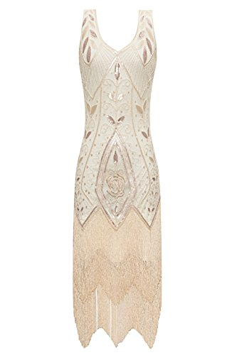 (Metme Women's 1920s Vintage Flapper Fringe Beaded Great Gatsby Party Dress (L, Apricot))