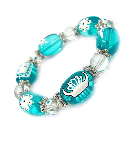 Linpeng Lampwork Woman, Girls, Teens Quinceanera, Sweet 16 Handmade Painted Flower and Tiara Glass Beads Stretch Bracelet, Aqua Blue ()