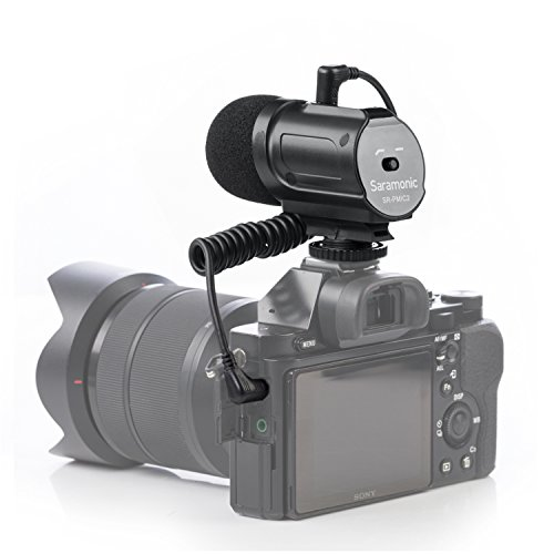Saramonic SR-PMIC2 Mini Camera-Mounted Stereo Condenser Video Microphone Interview Mic for Nikon D3300 D3400 Canon EOS T6i Sony A9 DSLR Camcorder DV (Microphone Mounted Videomic Camera Shotgun)