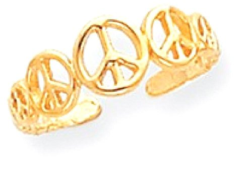 ICE CARATS 14k Yellow Gold Peace Sign Adjustable Cute Toe Ring Set Fine Jewelry Gift Set For Women Heart by ICE CARATS