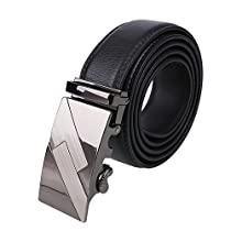 Abeillo Men Leather Belt with Automatic Buckle Ultra Soft Strap with Ratchet 120CM