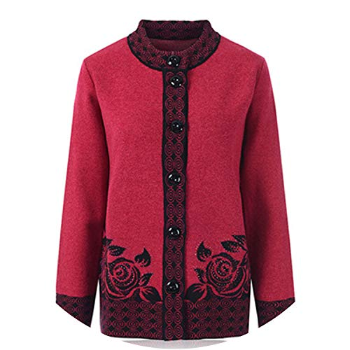 Women Cardigan Sweater Coats Middle-Aged Mother Loose Casual Floral Knit Tops A76,Rose Red,5XL