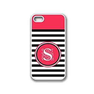 Black Stripes S Monogram White iPhone 4 Case - Fits iPhone 4 & iPhone 4S
