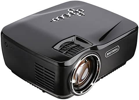Projector, HAUSBELL 1500ANSI Lumens LED Luminous efficiency Portable Projector LED Mini Home Projector for Outdoor Indoor Movie/Home Theater/Game (Black)