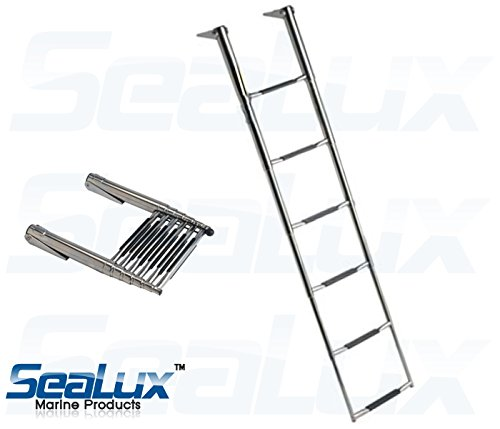 - SeaLux Marine Stainless Steel Heavy Duty 6 Step WIDE BODY OVER PLATFORM TELESCOPING Swim Ladder