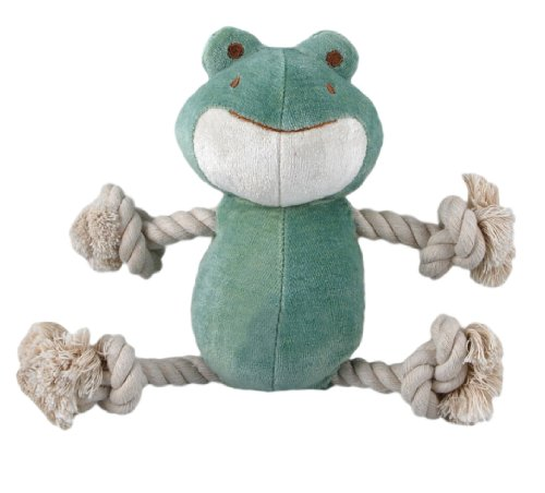 Simply Fido Bamboo Rayon Plush Rope Dog Toy, Petit 6″, Eddie Green Frog, My Pet Supplies