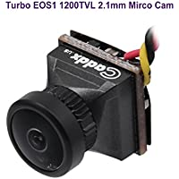 FPV Camera Caddx Turbo Eos1 2.1mm Lens 1200TVL 1/3 CMOS NTSC FOV 160 Degree IR Blocked Micro Mini Camera Black for FPV Quadcopter Racing Drone