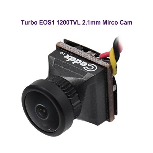 FPV Camera Caddx Turbo EOS1 2.1mm Lens 1200TVL 1/3'' CMOS NTSC FOV 160 Degree IR Blocked Micro Mini Camera Black for FPV Quadcopter Racing Drone by Caddx