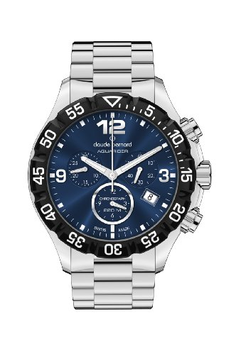 Claude Bernard Men's 10206 3 BUIN Aquarider Blue Chronograph Rotating Bezel Steel Watch