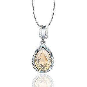 "Osiana""Honeymoon""Teardrop Pendant Necklace Gift With Swarovski Crystal 18K GP 18"""