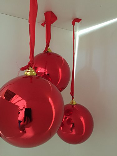 amazoncom 2 large shiny red christmas ball ornaments 12inch two oversize decorative holiday ball ornaments home kitchen - Large Christmas Ball Ornaments