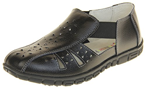 Footwear Studio Coolers Womens Leather Wide Fit EEE Sandals Shoes Black 24AQS