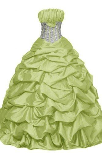 vestidos verde de sin novia tirantes Vestidos tafetán Princess de quinceañera Noche de sunvary oscuro Prom wq8xpOCZ