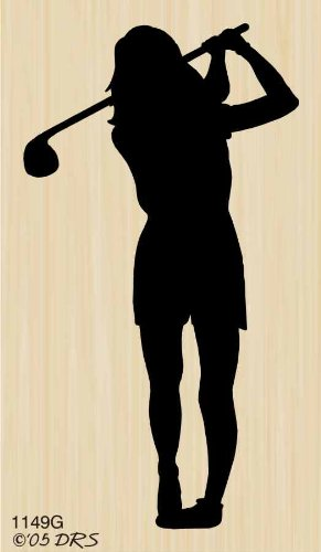 Silhouette Female Golfer Rubber Stamp By DRS Designs