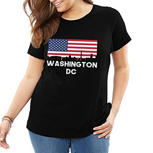 Washington DC American Flag Women's Crew Neck Plus Size Tshirt Short-Sleeve Black ()